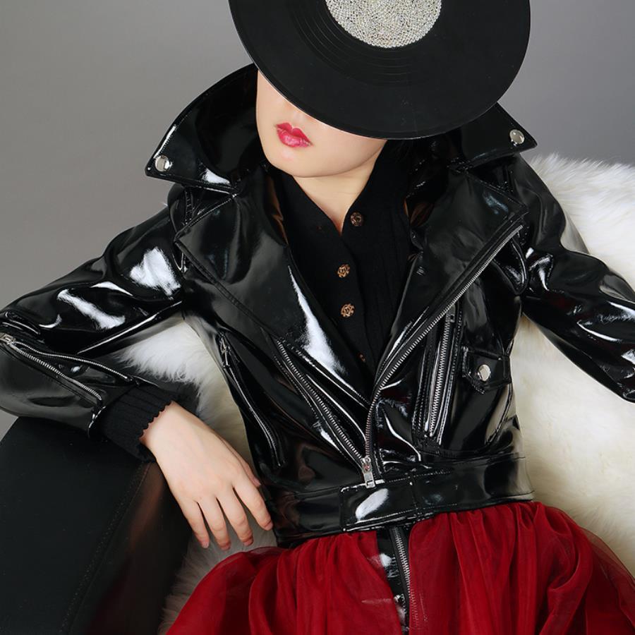 Fashion England style glossy black pu   leather   jackets female locomotive wind short zipper stitching pu   leather   jackets wq2019