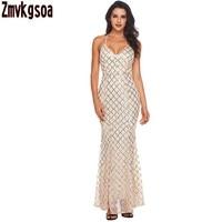 Zmvkgsoa Black Pink Vàng Sequins Lan Tỏa Khắp Cô Gái Vestidos Maxi Dài Ăn Mặc Phụ Nữ Không Tay Dresses Sexy Vestido De Fest V618680
