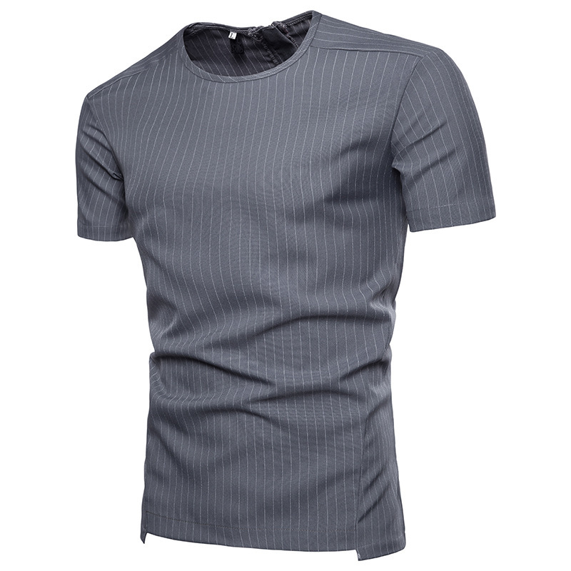 Mens fashion clothing t shirts Striped round neck design short sleeve casual tshirt male tops 2colour