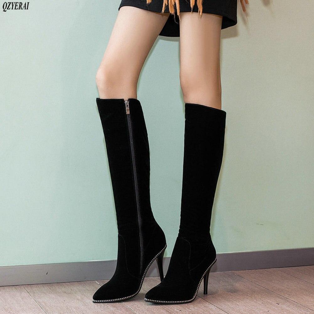 c906644d70 Negro Alto Botas Terciopelo Nuevas Rhinestone Decoración Zapatos Zippers  Mujeres Hasta De Tacón Qzyerai La Rodilla nxaq6w1