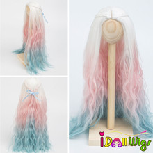 High Quality Doll Hair Wigs Heat Resistant Wire White Pink Blue Ombre Color for BJD