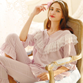 yomrzl L612 new arrival spring and autumn women's pajama set cotton royal princess sleepwear half sleeve sleep set