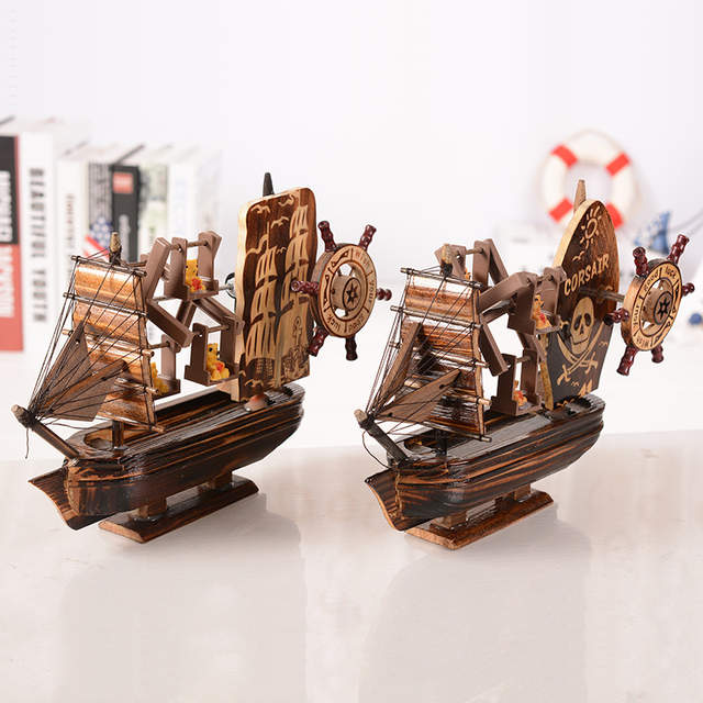Wooden Music Box Antique Pirate Ship decorative home exquisite furnishing  articles Mediterranean Style Music Box Boy gift