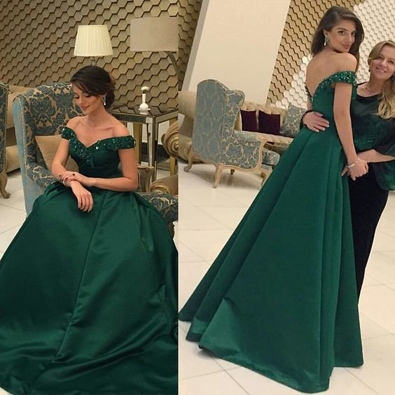 6fed399aa5d Elegant Dark Green Satin Prom Dresses 2017 Backless Long Prom Gowns with  Cap Sleeves Formal Evening