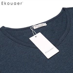 Image 5 - Ekouaerผู้หญิงCasual Nightชุดนอนฝ้ายVคอสั้นแขนSolid Nightgown LoungeหญิงNight Sleeping