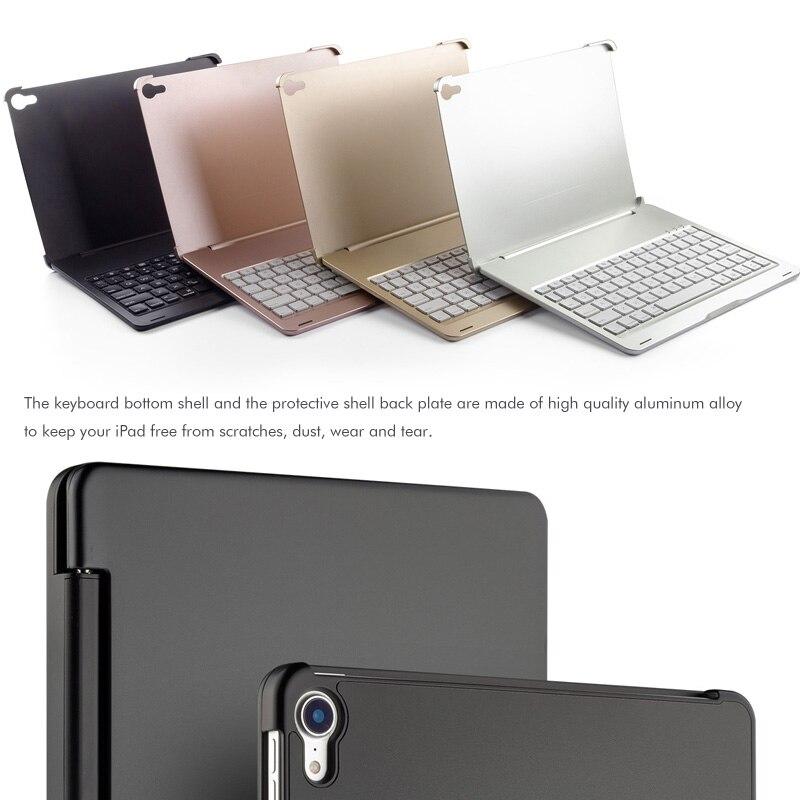 """שליכט אקרילי [חדש] מקרה מקלדת Bluetooth עבור אפל iPad Pro 11.1"""" , 7-צבע backlit מקלדת אלומיניום מתכת אלחוטי עם חכם מקרה קשה (3)"""