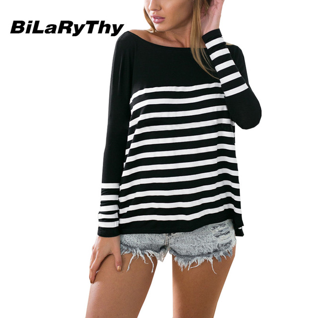 BiLaRyThy Spring Autumn Women's Casual Striped T Shirts O-Neck Long Batwing Sleeve Basic Loose Tops Tees Women Clothing