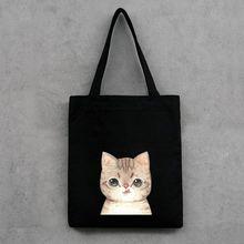 2019 New Canvas Favorable Women Cute Cat Printed Shoulder Bag Handbag Tote Shopping Bags