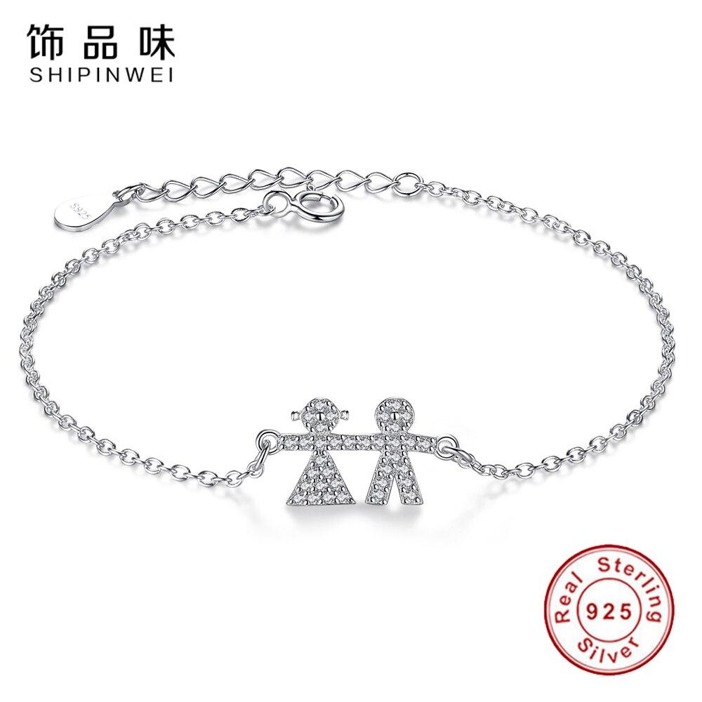 Shipinwei Новый мама браслет 925 серебро звено цепи Браслеты для дочери дети мальчик и девочка роскошные шарм браслеты и браслет