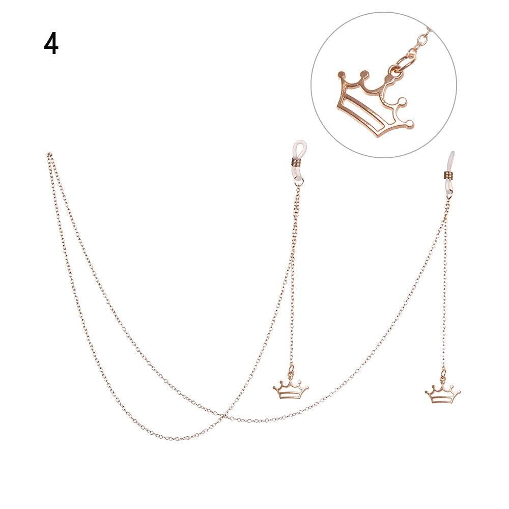 Горячая Распродажа цепочка для очков Женский позолоченный металл цепочка для солнцезащитных очков Мода мини-корона кулон шнурок для очков Веревка кулон ювелирные изделия - Цвет: 04
