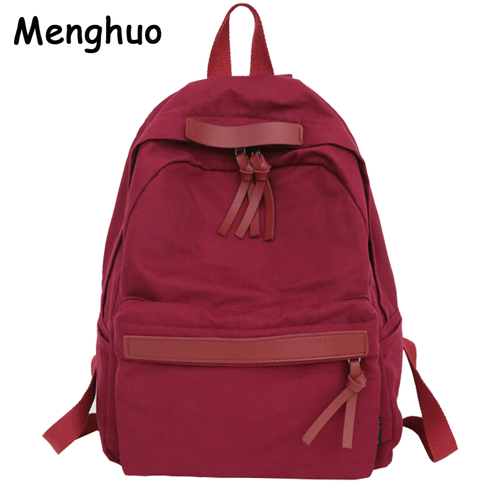 Menghuo High Quality Women Canvas Backpack Teenage Girls Leisure Backpack Bag Vintage Stylish Female School Bag Bookbag Mochilas