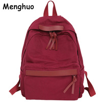 Menghuo alta qualidade das mulheres lona mochila adolescente meninas lazer mochila do vintage à moda feminina saco de escola bookbag|Mochilas| |  -