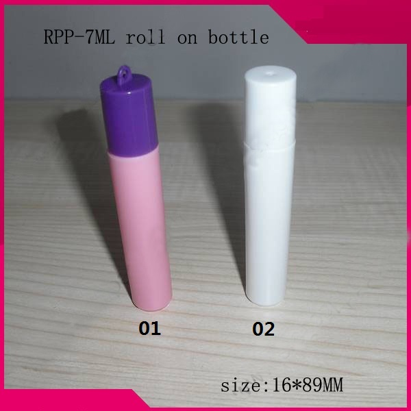 30/100pc 7ML Mini plastic roll on Bottle,steel ball Sample Vial,Small Essential Oil bottle Lip oil subpackage white/pink golf ball sample display case