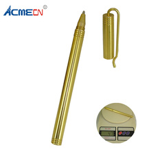 ACMECN Solid Brass Heavy Pen 47g Copper EDC Pocket 0.5mm Gel ink Signature with Clip Metal Stationery Gifts Camping Tool