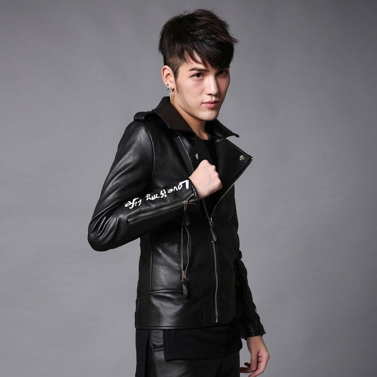 2017 autumn and winter Metrosexual Korean men motorcycle leather costume slim bar DJ w117 p125 night