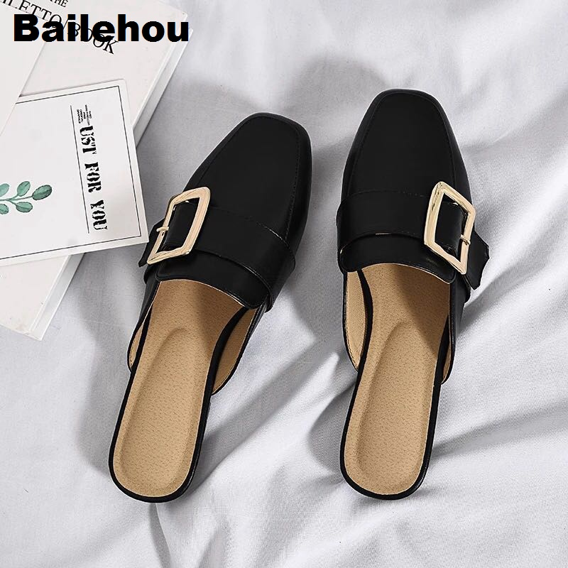 Women Slippers Flat Causal Mules Metal Buckle Platform Sandals Women Summer Shoes Big size 41-43 Slipper Low Heel Ladies Shoes