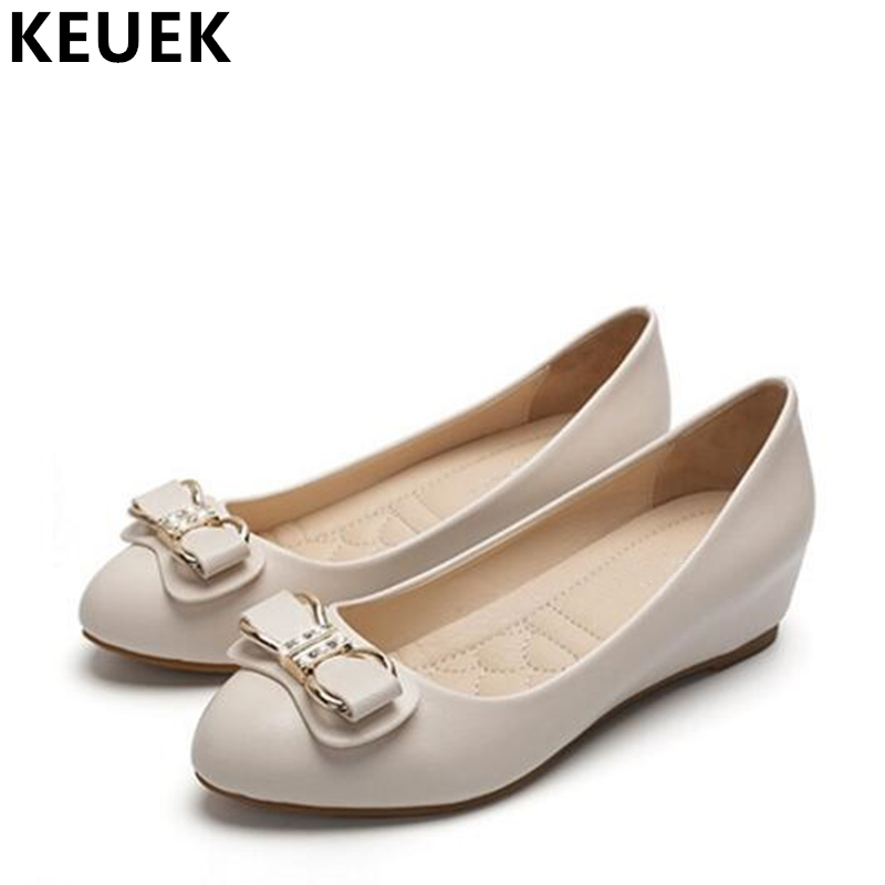 Women Leather shoes Crystal Butterfly-knot Increased Internal Wedges shoes Slip-On Boat shoes Ladies Pumps High heels 02C