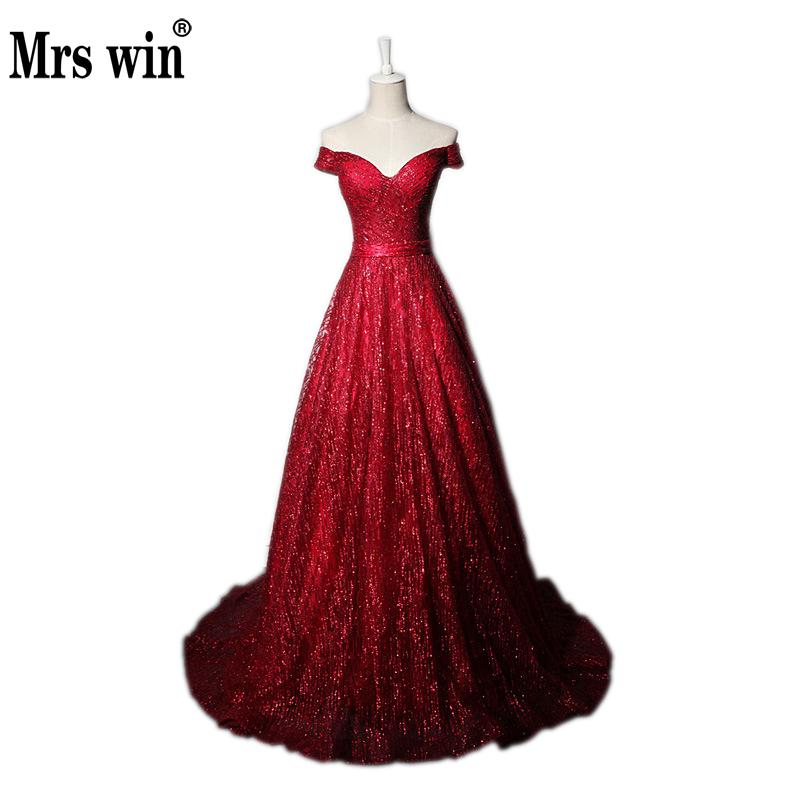 Mrs Win Sexy Boat Neck Evening Dress 2019New Red Wine Color Slim Banquet Toast Long Skirt