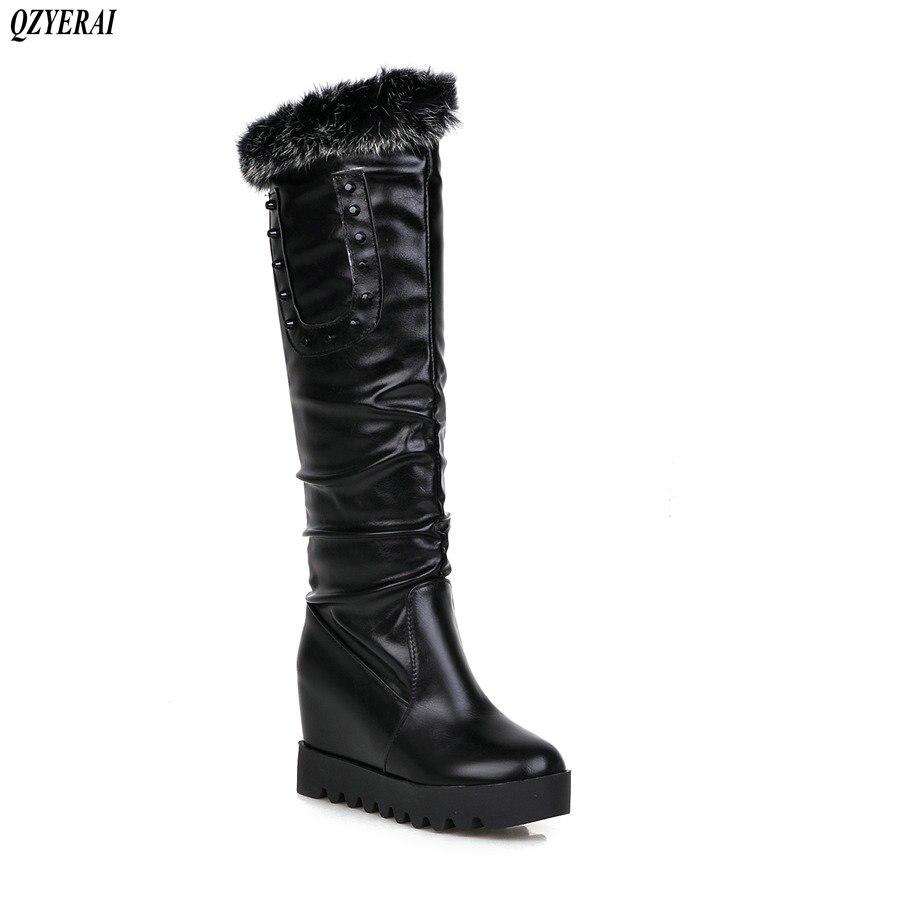 8d15b6d384743 Cheveux Taille Noir Chaussures blanc Nouveau Européenne 43 Lapin Bottes  Rivet Chaud De D hiver Style ...