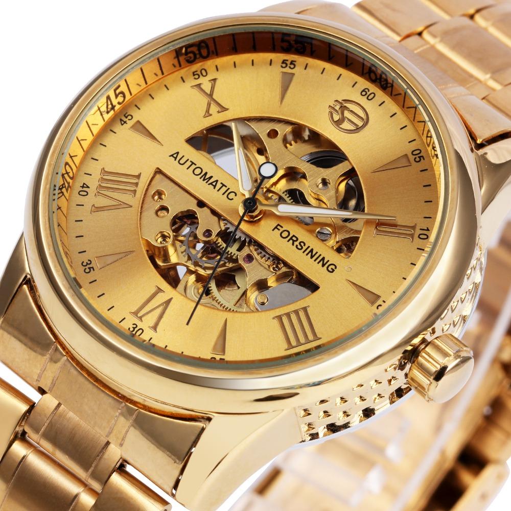 Prix pour Luxe Hommes Femmes Montres Automatique Mécanique Amant de Montre-Bracelet En Acier Inoxydable Bande Lumineux Mains Squelette Horloge 2017