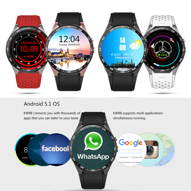Kingwear KW88 3G WCDMA Smartwatch Phone Clock Pedometer Heart Rate Smart Watch for iPhone 6 6S Plus for Samsung S6 S7 Android