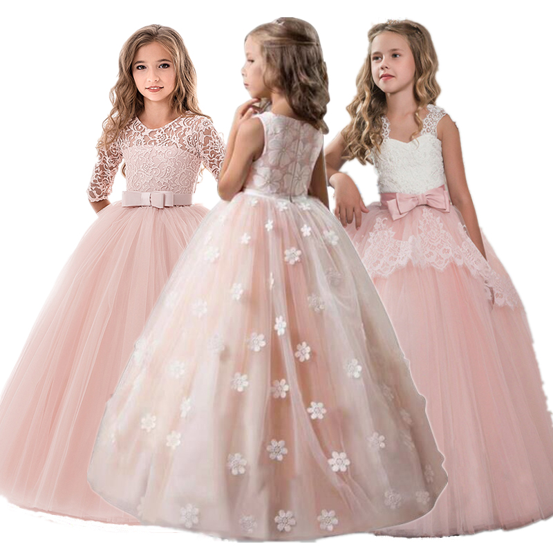 Fancy Girl Flower Petals Dress Children Bridesmaid Outfits Elegant Kids Dresses For Girls Party Prom Gown Princess Costume 6 14Y