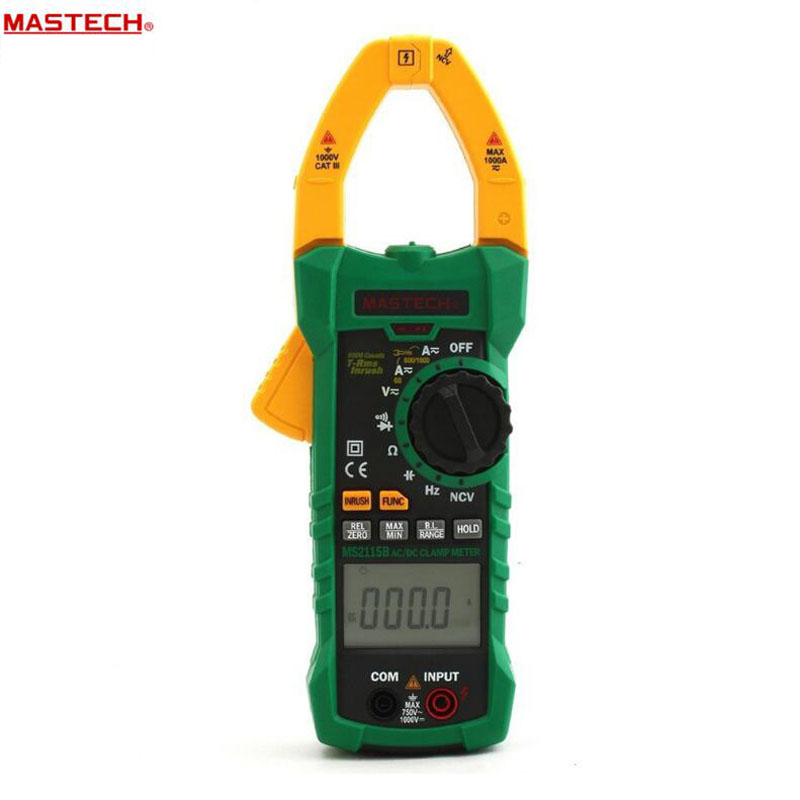 MASTECH MS2115B Digital AC/DC Clamp Metewith 6000 Counts NCV True RMS AC/DC Voltage Current Tester Detector mastech ms2115b digital ac dc clamp metewith 6000 counts ncv true rms ac dc voltage current tester detector with usb