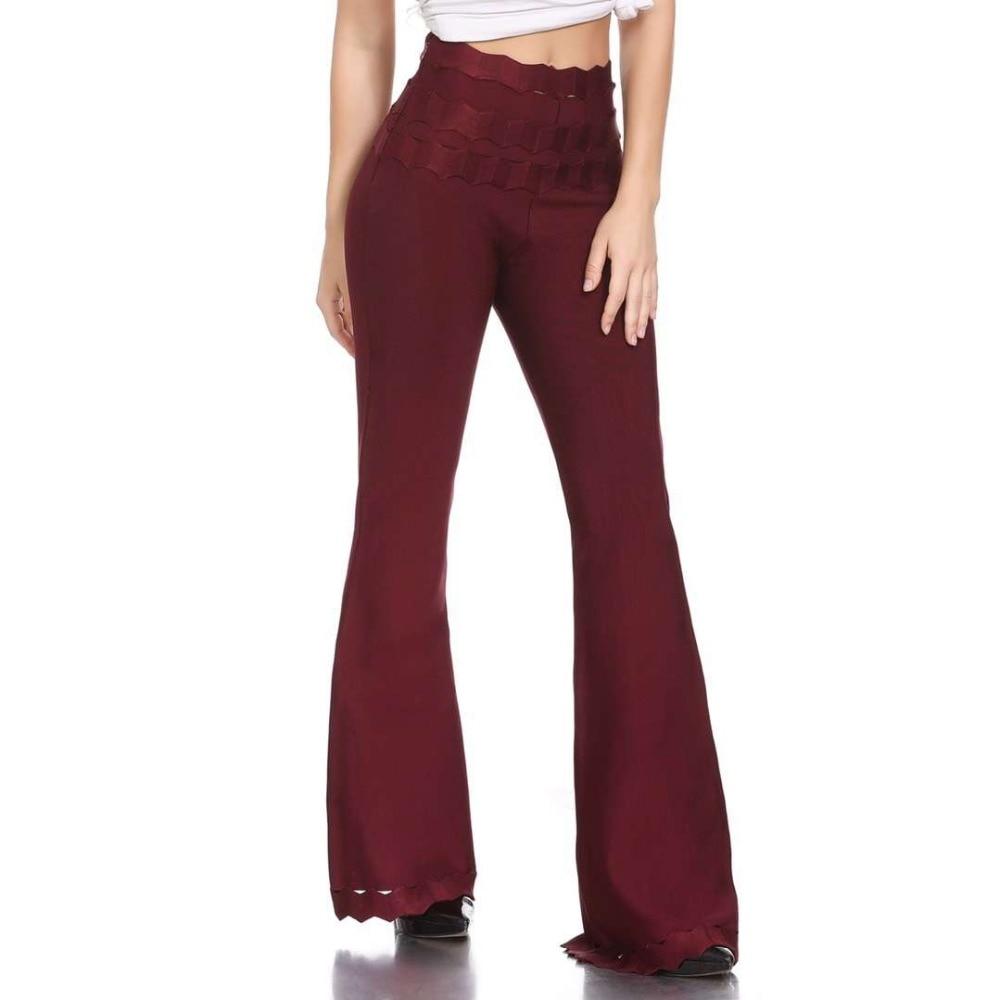 Pantalons Bandage Top Designer Pantalon Femmes bourgogne De Qualité Bleu Pattes 2019 D'éléphant Sexy Mode Rouge Noir 00w87Oqx