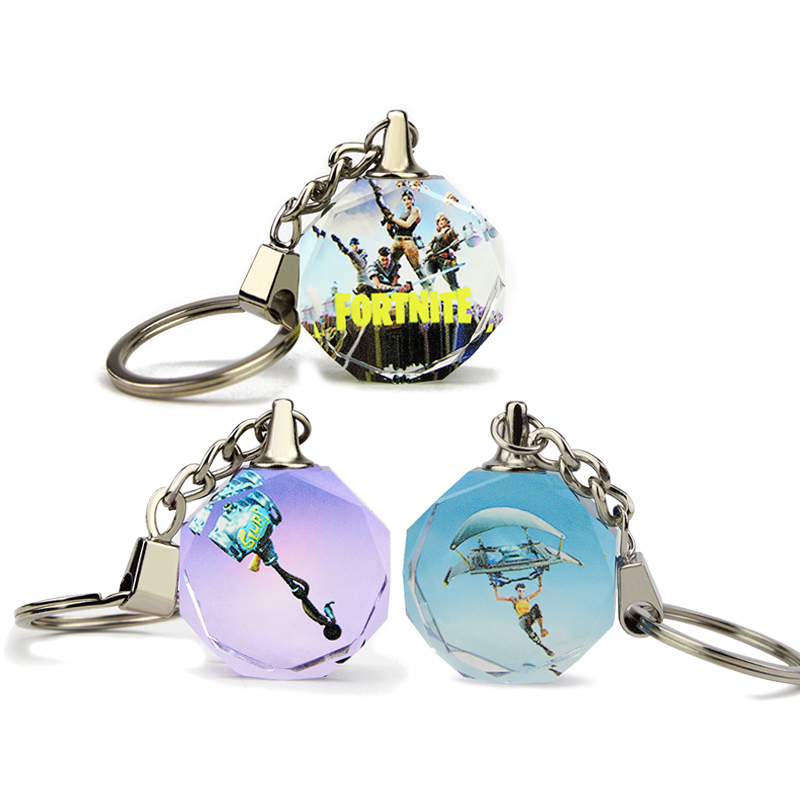 3 Styles FPS Game Fortnite Battle Royale Keychain Crystal Octagon Pendant with Customized Gift Box for Friends and Kids