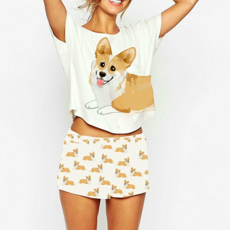 Women   Pajamas   Nightwear Corgi Print 2 Pieces   Pajama     Set   Women Design Crop Top Shorts Stretchy Loose Tops Elastic Waist Casual