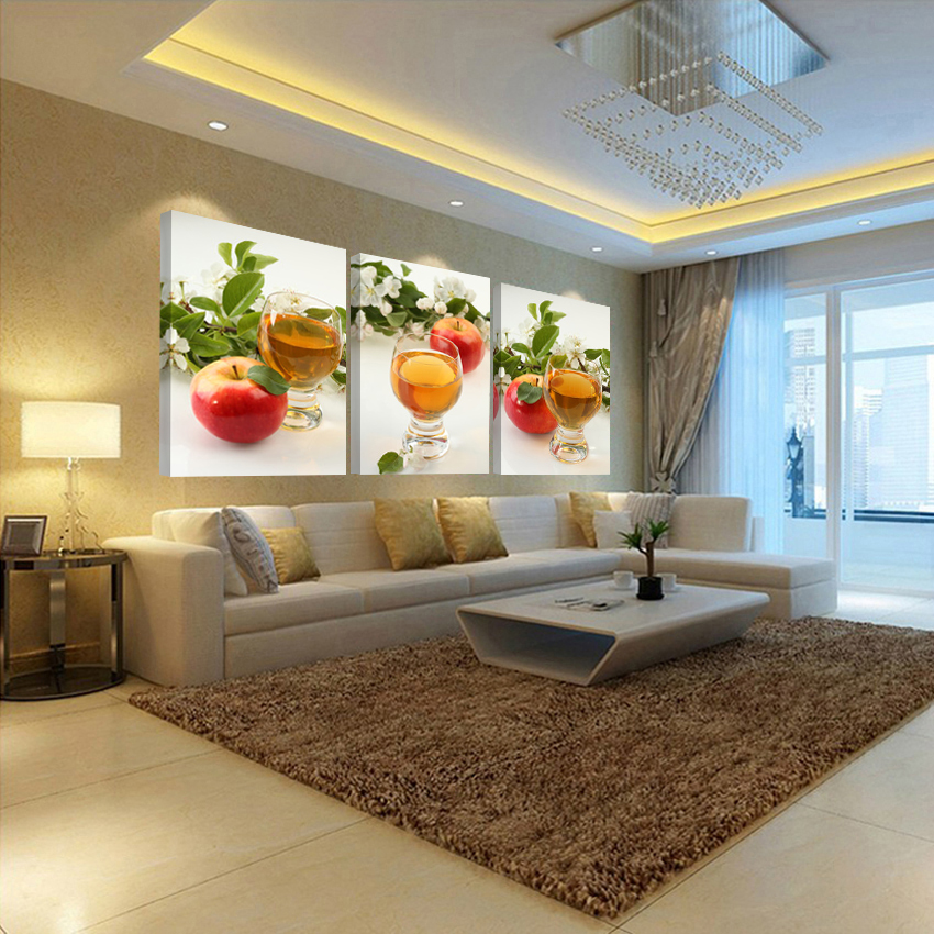 ③Lienzo pintura fruta cocina fotos para la sala tríptico pintura ...