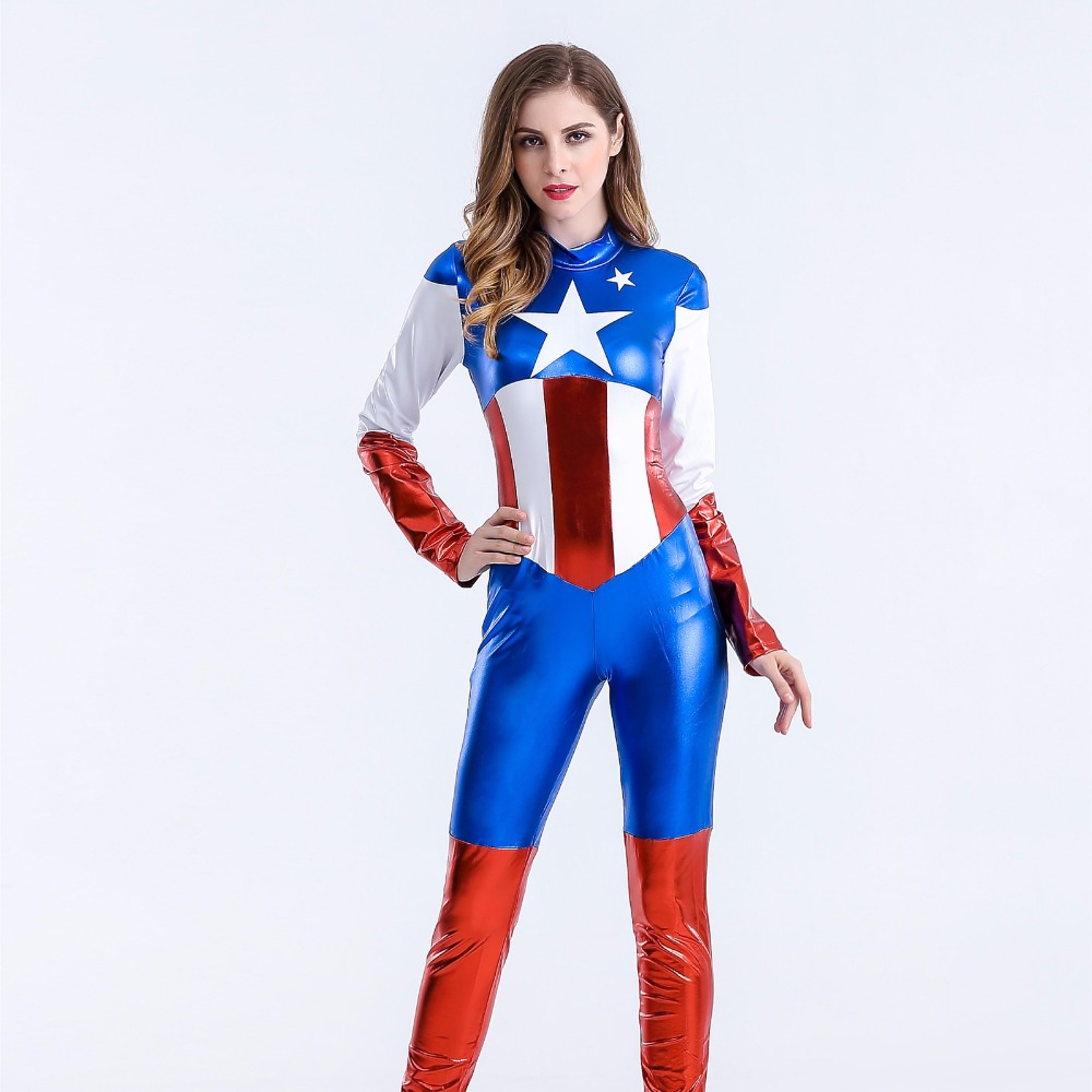 2018 Sexy Captain America Costume Women Halloween Carnival Cosplay Costume Jumpsuit Movie Avengers Spiderman Superhero Costumes