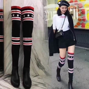 Kerrilado New Fashion Autumn and Winter Knee Boots Star Stripes Stretch Socks D01