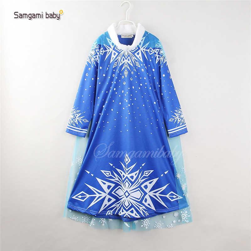 新しい女の子ドレス毛深いスノーフレーク女王プリンセスドレス女の子のための漫画冷凍アンナドレス衣装服子供服