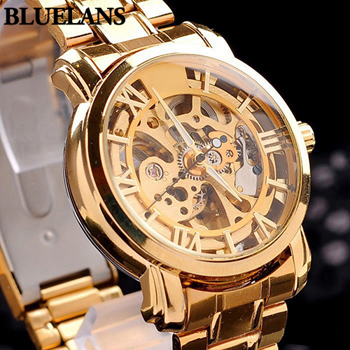 Hot Sales New Arrival Mens Retro Roman Numerals Hollow Skeleton Golden Tone Wristwatch Mechanical Watch 5UZRHot Sales New Arrival Mens Retro Roman Numerals Hollow Skeleton Golden Tone Wristwatch Mechanical Watch 5UZR