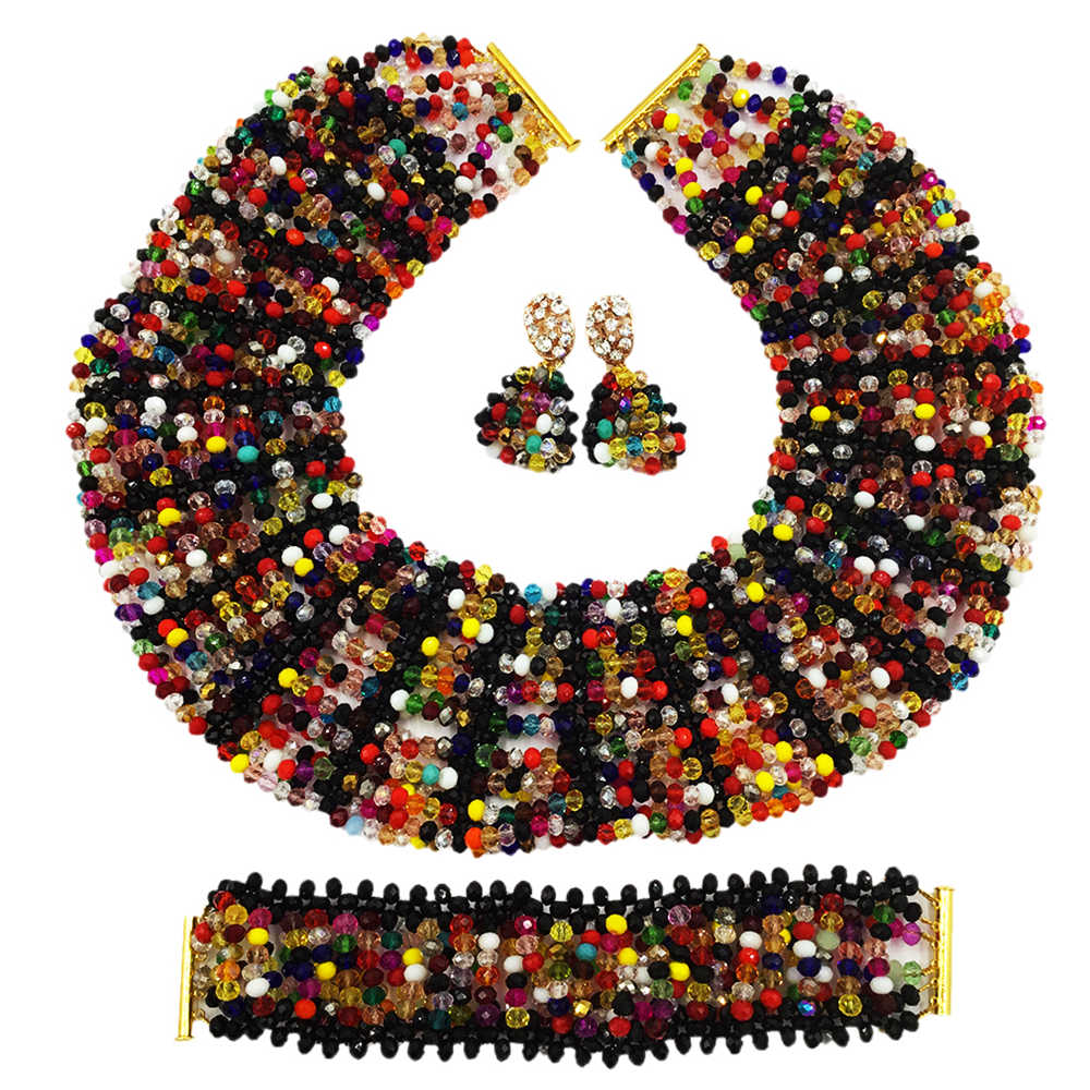 Bohemia Mixed Beads Sets Nigerian Wedding African Beads Jewelry Set Crystal Beaded Necklace Bridal Party Jewelry Sets SXK009
