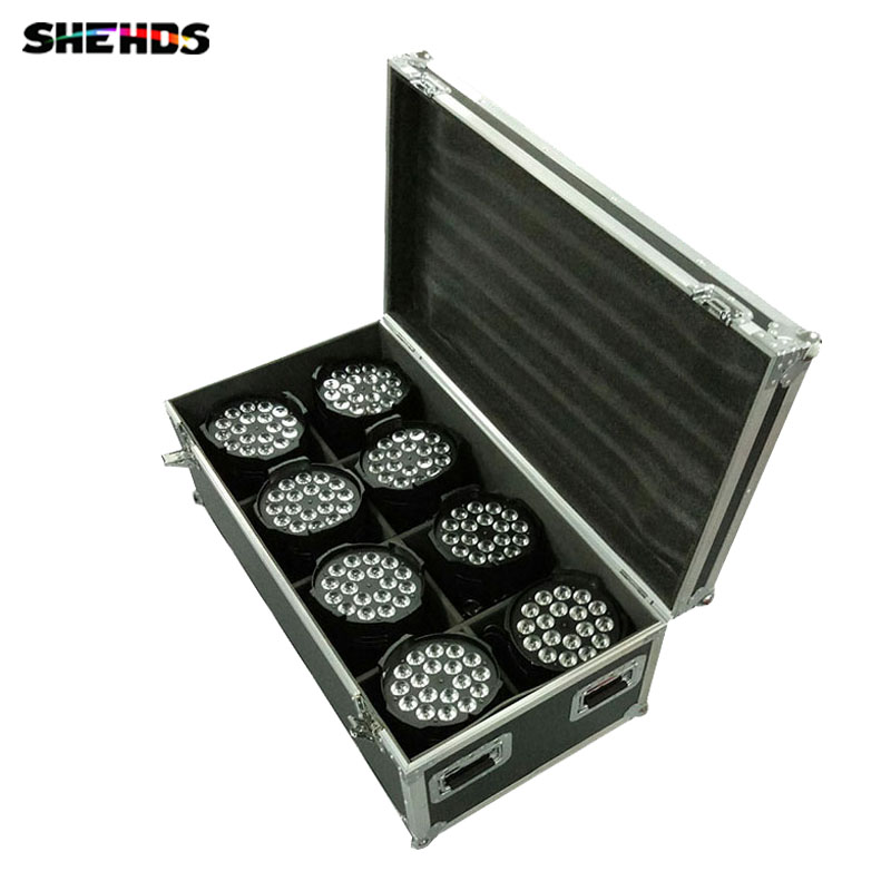Flight Case with 4/8 pieces LED Par Can 18x18W RGBWA+UV  Lighting 6IN1 LED Light for Disco KTV Party Fast Shipping flight case with 4 pieces led par 18x15w rgbwa light dmx stage light business light professional par can for party ktv disco dj