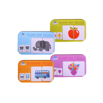 цена Baby Cognition Puzzle Toys Toddler Iron Box Cards Matching Game Kids Cognitive Card Vehicl Fruit Animal Life Set Pair Puzzle онлайн в 2017 году