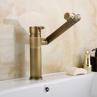 Antique Brass Bathroom Faucet Europe Style Antique Basin Mixer Bathroom 360 Degree Ronating Lucky Cat Tap