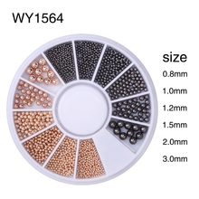 Elessical Nail Art Tiny Steel Caviar Beads Mix Size 3D Design Manicure Jewelry Rose Gold Silver Black DIY Decoration Wheel