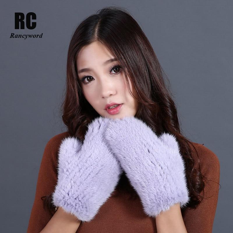 [Rancyword] gants chauds d'hiver femmes vrais gants de fourrure de vison avec des gants de corde mitaines femme tricoté fourrure naturelle 2017 nouveau RC1329