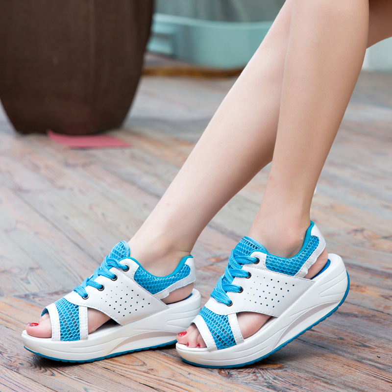 Women Shoes Summer Wedges Sandals Fashion Lady Tennis Open Toe Slimming Woman Casual Shoes Breathable Lace Platform Sandalias 1