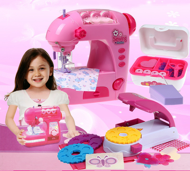 Amazing Little Girl Sewing Machine embossing play house with music electric light Gift for kids Children's toys magic play set