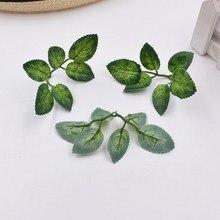 10pcs green artificial leaves wedding home decoration rose DIY cut and paste craft false flowers plants