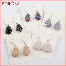 BOROSA 3Pairs Fashion Silver Color Claw Rainbow Titanium Druzy Faceted Dangle Earring Agates Drusy Drop Earrings Jewelry ZG0349