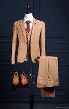 New Luxury Wedding Bridegroom Men Suits Slim Fit One Button Best 3PCS