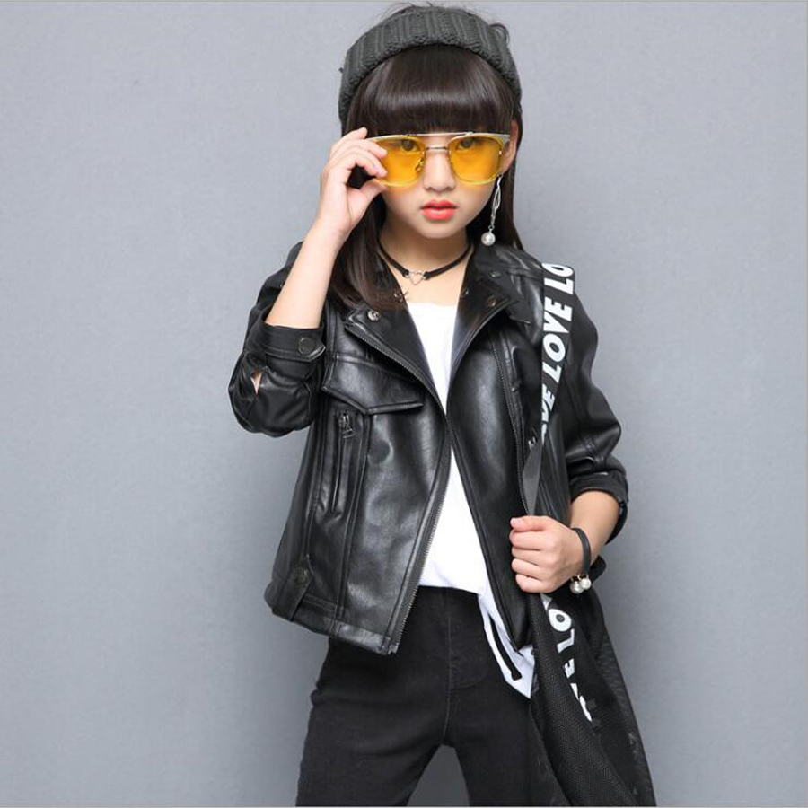 Girls Clothes PU Leather Jacket 4 6 8 Years Kids Coats Spring Autumn 2018 Girls Leather Jackets Children Outwear Zipper Coats spring kids clothes pu leather girls leather dress jackets children outwear for baby girls clothing coats costume 3 13years