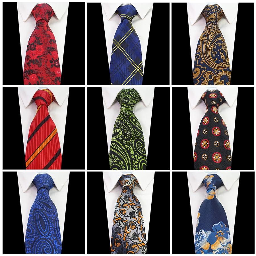 Ricnais New Design 8cm Mashkull Lidhje Paisley Plaid Silk Jacquard Woven Qafa Tie Lidhje Lule për Burrat Kostum Biznes Dasma Necktie