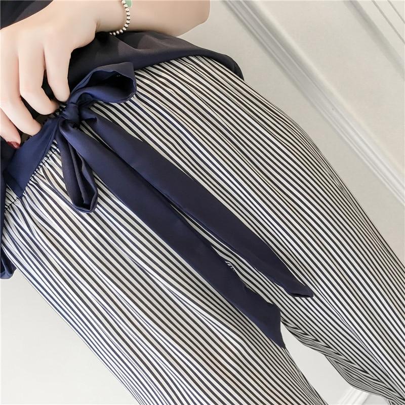 Two Piece Set Women Satin Sleepwear Silk Pajamas Nightwear Sexy Spaghetti Strap Lace Homewear Pijama Stripe Parttern Pyjama