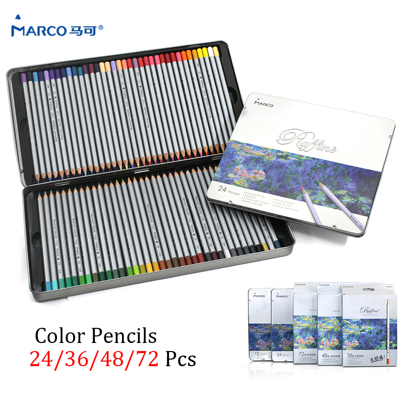 24/36/48/72 Marco Raffine Colored pencils Drawing Pencil Oil Base Non-toxic Pencils Set for Artist/Art Fan/Colouring Lover цена